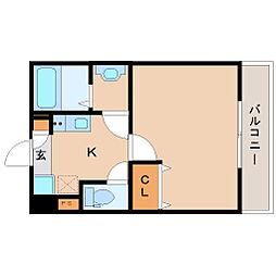 阪神本線 尼崎駅 徒歩11分の賃貸アパート 1階1Kの間取り