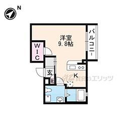 THE GARNET SUITE RESIDENCE京大前WESTII 2階1Kの間取り