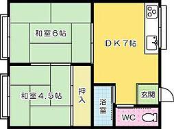 千春荘[203号室]の間取り