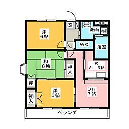 リバティーコート[3階]の間取り