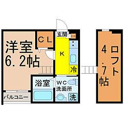 愛知県名古屋市昭和区吹上町1丁目の賃貸アパートの間取り