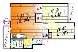 大建コーポ千里丘A棟[2階]の間取り