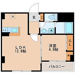 仙台市地下鉄東西線 大町西公園駅 徒歩9分の賃貸マンション 4階1LDKの間取り