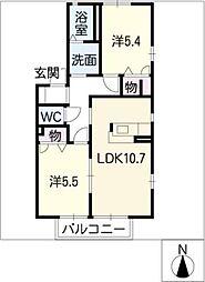 ラフィネ千代田A棟[1階]の間取り