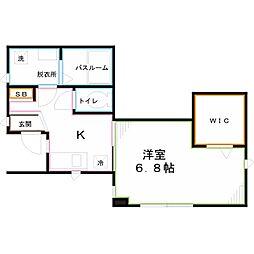 JR中央本線 国分寺駅 徒歩10分の賃貸アパート 1階1Kの間取り