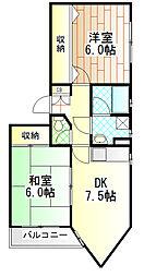 神奈川県相模原市南区相模大野1丁目の賃貸マンションの間取り