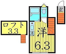 ヴェルミオン 2階ワンルームの間取り