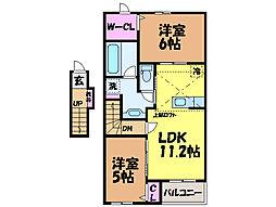 愛媛県東温市志津川の賃貸アパートの間取り