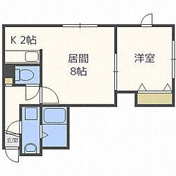 レユシール弐番館 3階1LDKの間取り