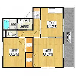 コンクオーレ香ヶ丘 A・B棟[1階]の間取り