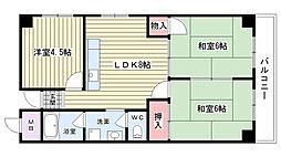 大阪府吹田市山田西2丁目の賃貸マンションの間取り