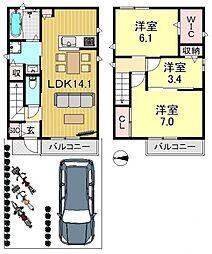 [一戸建] 大阪府大阪市平野区流町1丁目 の賃貸【/】の間取り