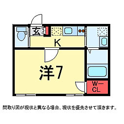 千葉県千葉市若葉区若松町の賃貸アパートの間取り