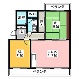 ラフォーレ西焼津[1階]の間取り