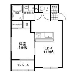 ココ・ハウス 1階1LDKの間取り