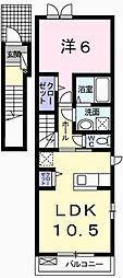 兵庫県姫路市飾磨区山崎の賃貸アパートの間取り
