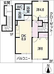 愛知県名古屋市緑区平手北2丁目の賃貸アパートの間取り