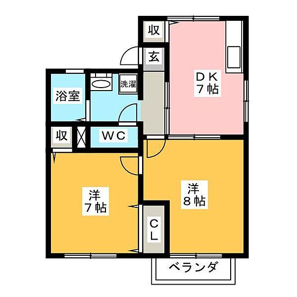 愛知県岡崎市東明大寺町の賃貸アパートの間取り