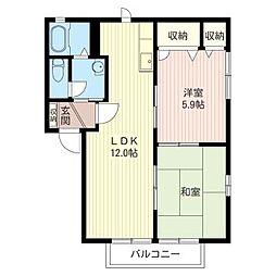 メゾン フォーレスト B[2階]の間取り