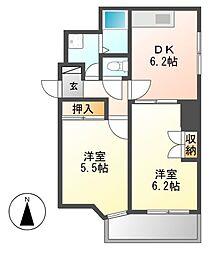 レジデンシア東別院(第7協和ビル)[6階]の間取り