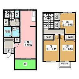 [テラスハウス] 神奈川県厚木市愛甲3丁目 の賃貸【神奈川県 / 厚木市】の間取り