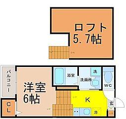 名古屋市営桜通線 瑞穂区役所駅 徒歩3分の賃貸アパート 2階1SKの間取り