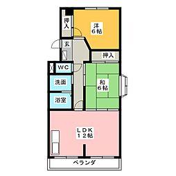 シャトー汐路[1階]の間取り