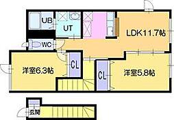 北海道江別市一番町の賃貸アパートの間取り