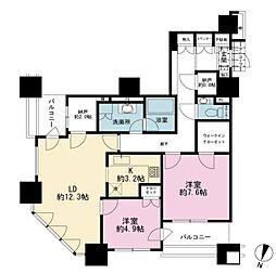 JR山手線 田町駅 徒歩4分の賃貸マンション 10階2SLDKの間取り