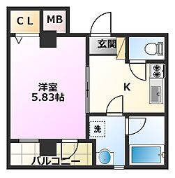 東急東横線 元住吉駅 徒歩3分の賃貸マンション 3階1Kの間取り