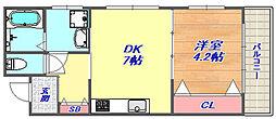 カネヨシ六甲ビル[201号室]の間取り