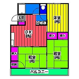 福岡県福岡市博多区諸岡2の賃貸マンションの間取り