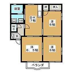 スリーゼ B[1階]の間取り