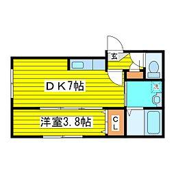 札幌市営東豊線 東区役所前駅 徒歩9分の賃貸マンション 4階1DKの間取り