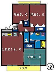 シェルコート[302号室]の間取り