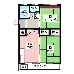 愛知県名古屋市名東区亀の井3の賃貸マンションの間取り