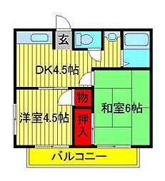 宇田川ハイツ[202号室]の間取り