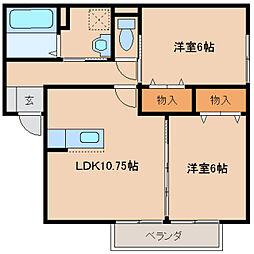 奈良県橿原市山之坊町の賃貸アパートの間取り