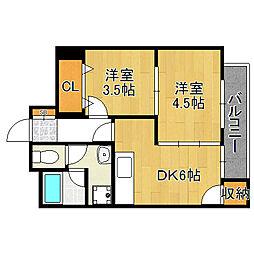平野フラワーハイツ[3階]の間取り