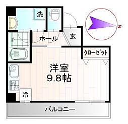レクシズ浅草本所 4階ワンルームの間取り