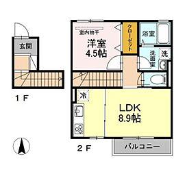 JR吉備線 備前三門駅 徒歩11分の賃貸アパート 2階1LDKの間取り