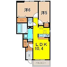 ラディアントA[105号室]の間取り