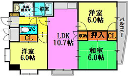 広島電鉄9系統 白島駅 徒歩14分の賃貸マンション 8階3LDKの間取り