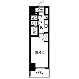 名古屋市営鶴舞線 浅間町駅 徒歩5分の賃貸マンション 7階1Kの間取り