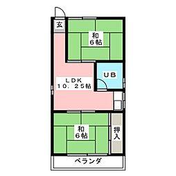 岩井コーポ[2階]の間取り