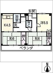 ビレッジハウス幸田 4号棟[2階]の間取り