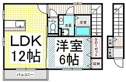 北尾張部アパート[B201号室]の間取り