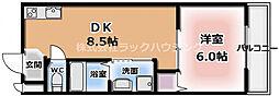 M'プラザ竜田通 4階1DKの間取り
