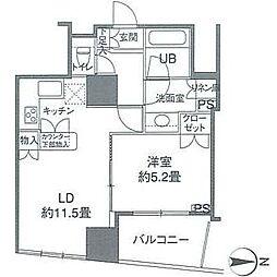 カスタリアタワー品川シーサイド 3階1LDKの間取り