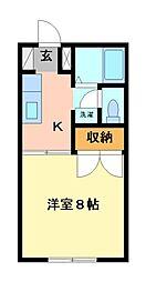 栃木県宇都宮市松原2丁目の賃貸アパートの間取り